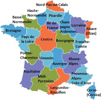 Vakantiehuizen in de regio's van Frankrijk selecteren.