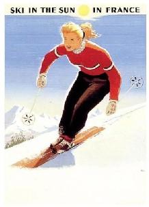 In de zon en sneeuw skien in Frankrijk